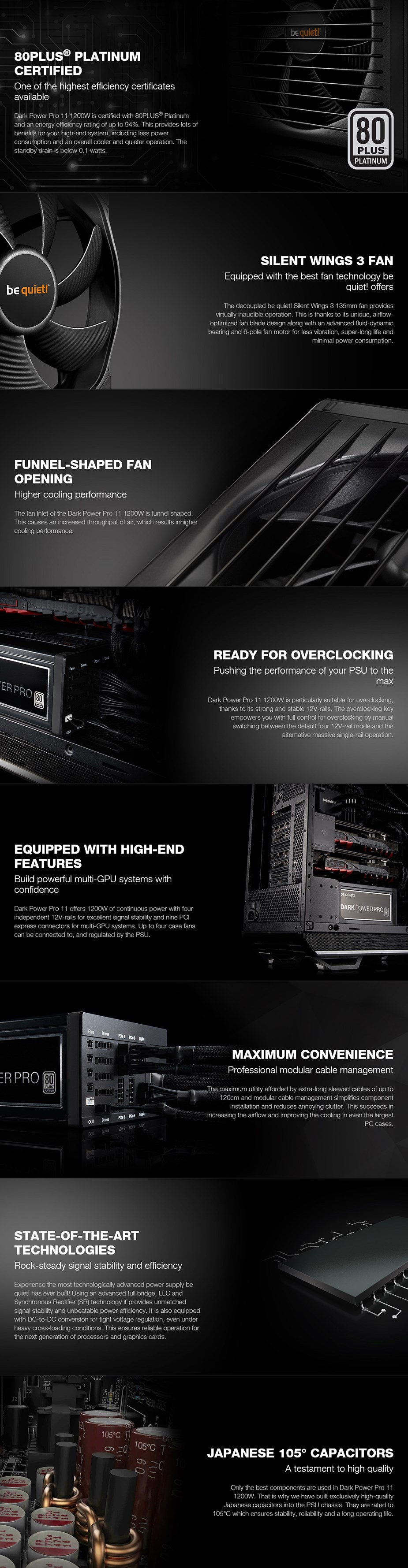 be quiet! Dark Power Pro 11 1200W 80+ Platinum Semi-Modular Power Supply - Desktop Overview 1