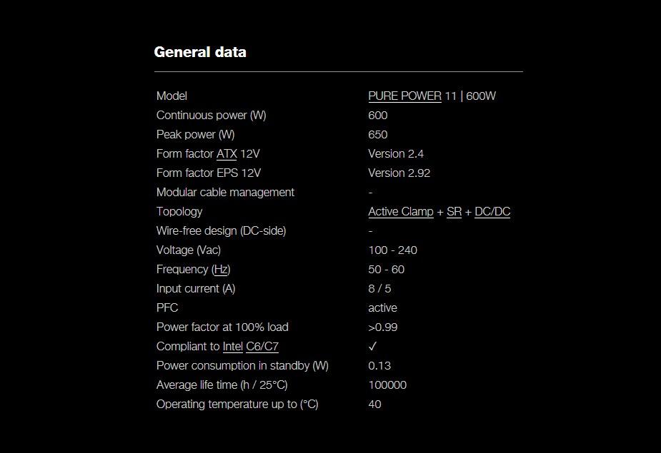 be quiet! Pure Power 11 600W 80+ Gold Non-Modular Power Supply - Desktop Overview 2