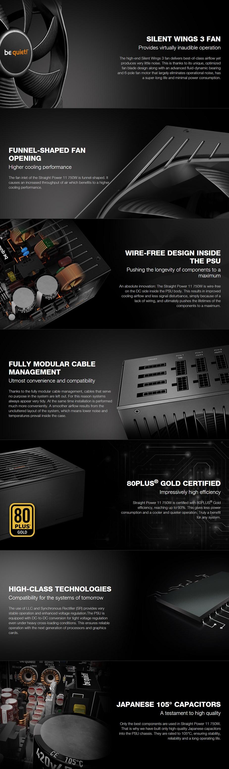 be quiet! Straight Power 11 750W 80+ Gold Modular Power Supply - Desktop Overview 1