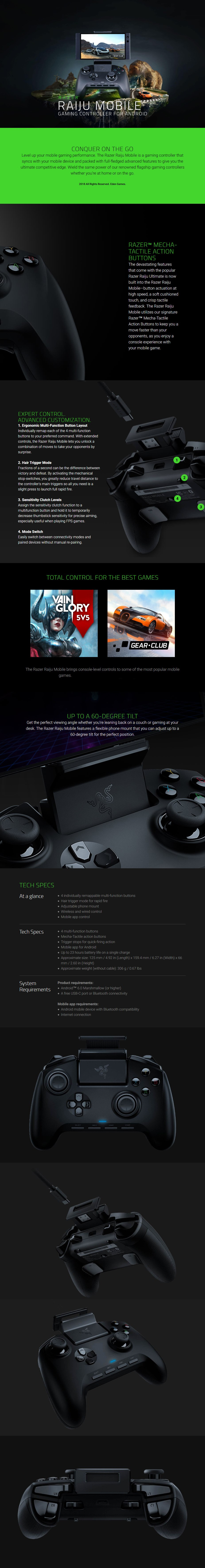 Razer Raiju Mobile Gaming Controller For Android Rz06 02800100 R3m1 Mwave Com Au Designed to sync with your mobile device, it's packed with advanced features to give you the ultimate competitive. razer raiju mobile gaming controller for android