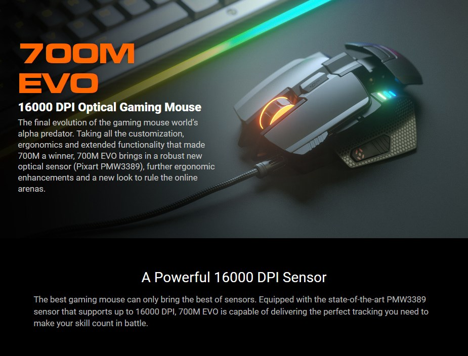 Cougar 700M EVO RGB Optical Gaming Mouse - Desktop Overview 1