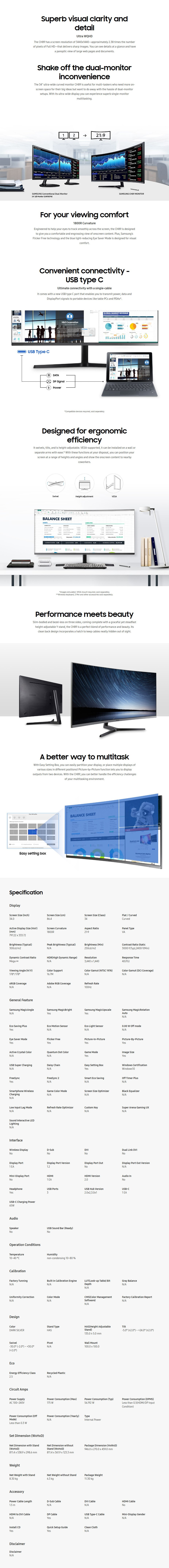 "Samsung LC34H892WJEXXY 34"" 100Hz Ultra-Wide QHD Curved FreeSync Monitor - Desktop Overview 1"