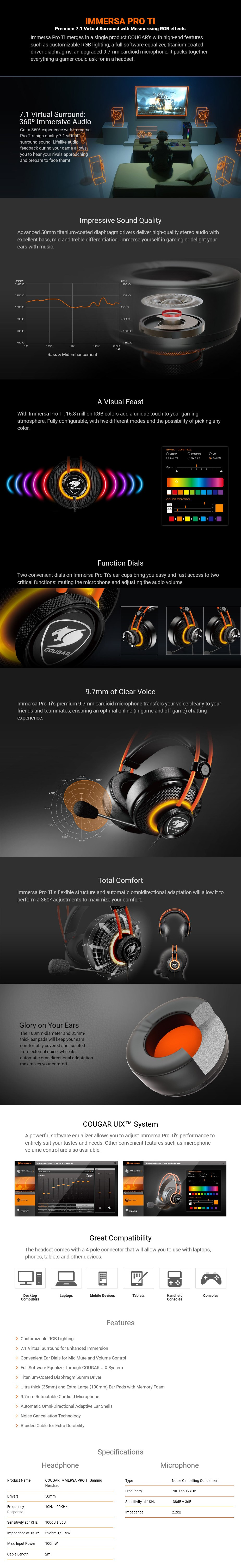 Cougar Immersa-Pro Ti Virtual 7.1 RGB Gaming Headset - Desktop Overview 1