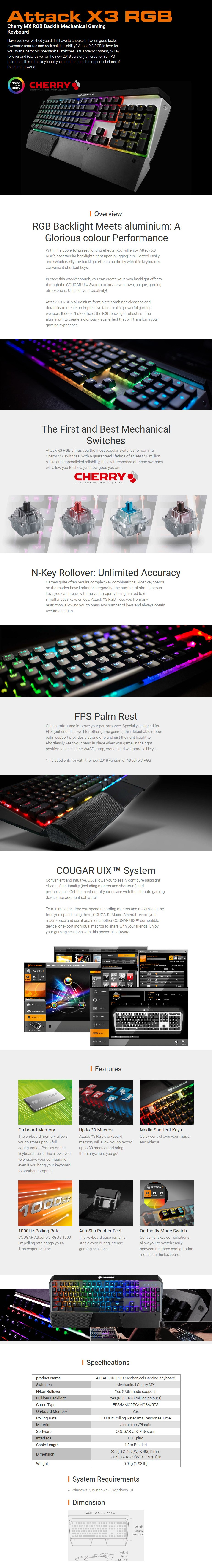 Cougar ATTACK X3 RGB Mechanical Gaming Keyboard - Cherry MX Brown (Version 2) - Desktop Overview 1