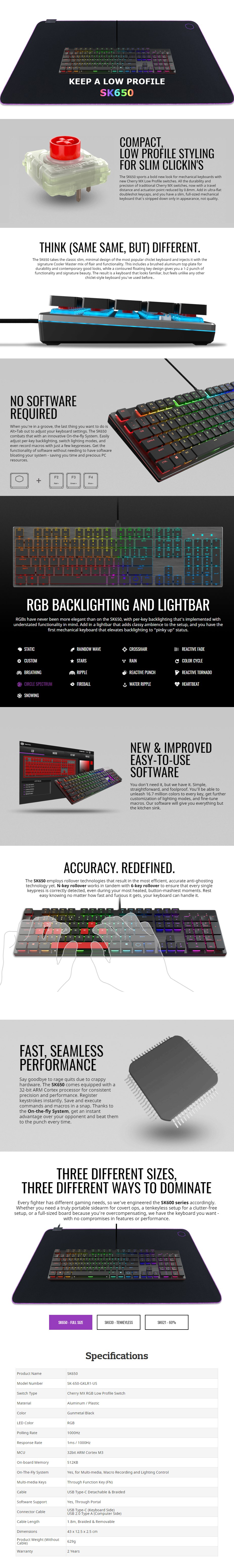 Cooler Master SK650 RGB Low Profile Mechanical Gaming Keyboard - Cherry MX Red - Desktop Overview 1