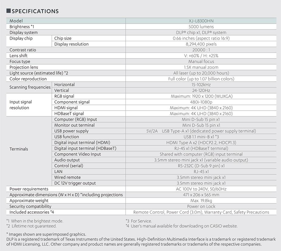 Casio XJ-L8300HN 4K Ultra HD 5000 Lumens SSI DLP Projector - Desktop Overview 6