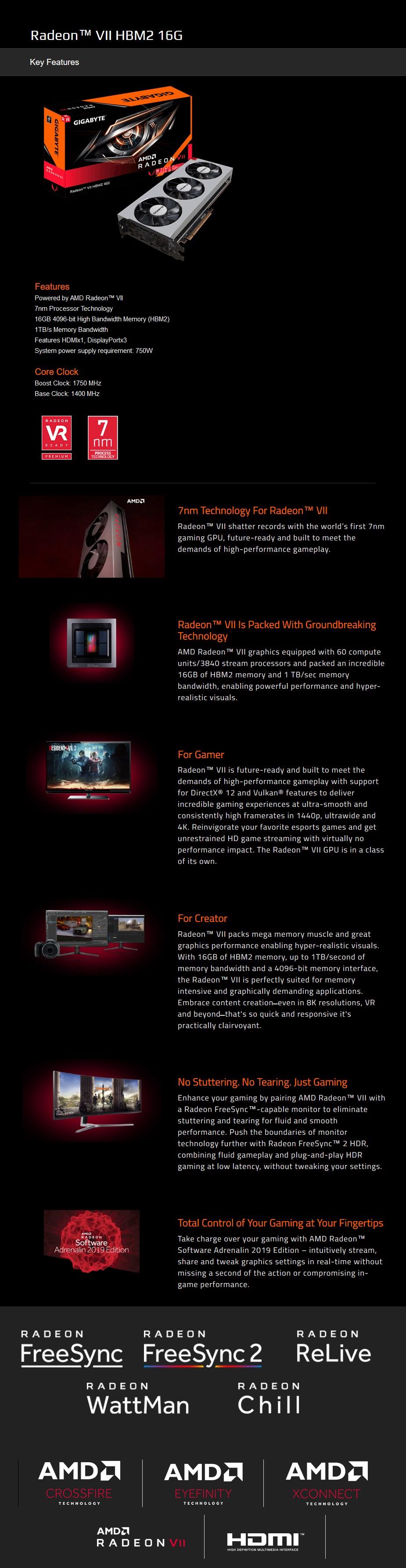 Gigabyte Radeon VII 16GB Video Card - Desktop Overview 1