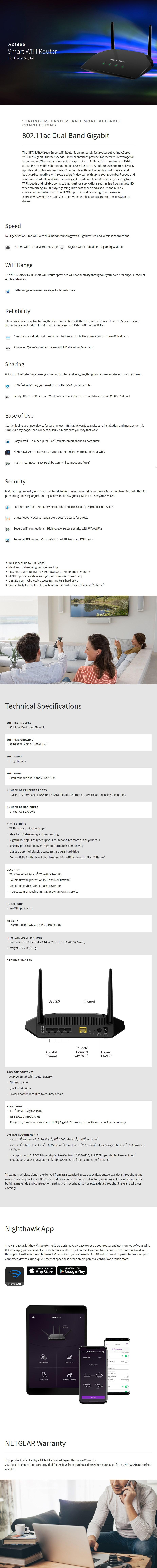 Netgear R6260 AC1600 Dual-Band Smart Wi-Fi Router - Desktop Overview 1