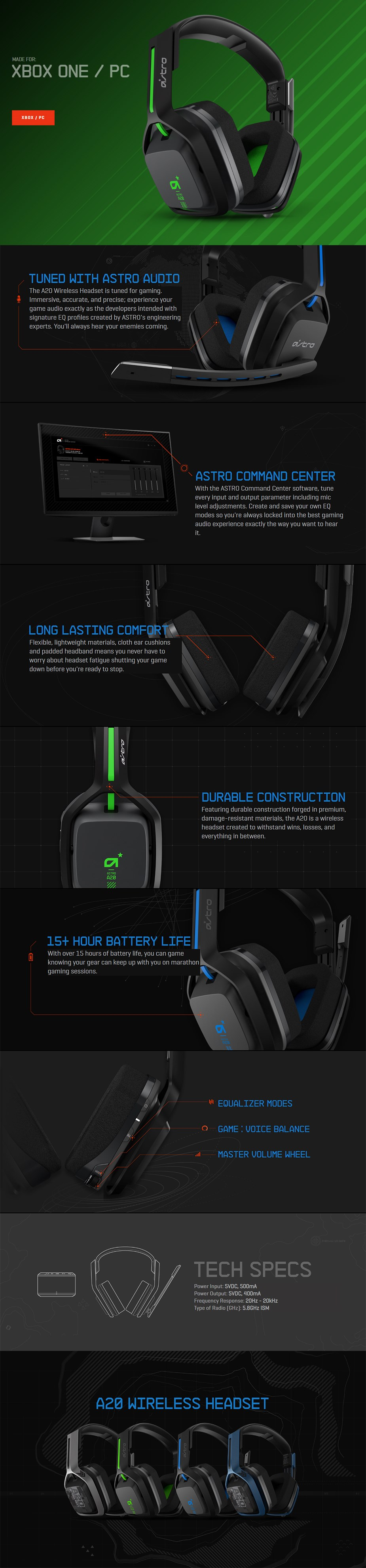 ASTRO A20 Wireless Gaming Headset for Xbox One - Black/Green - Desktop Overview