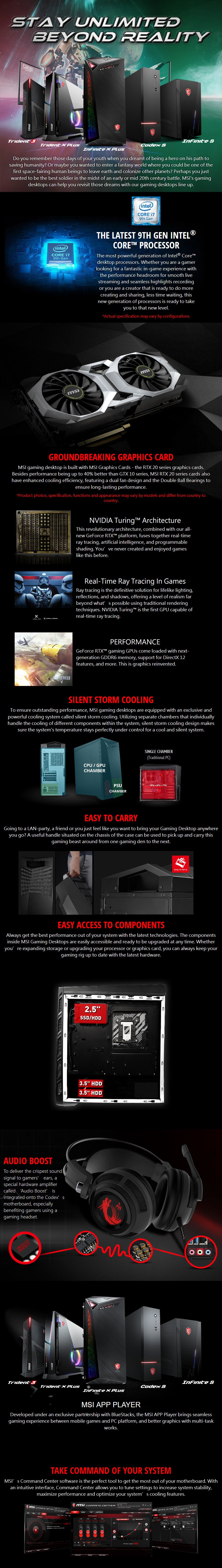 MSI Infinite Mid-Tower Gaming PC i5-9400F 8GB 256GB RTX2060 Win10H - Desktop Overview