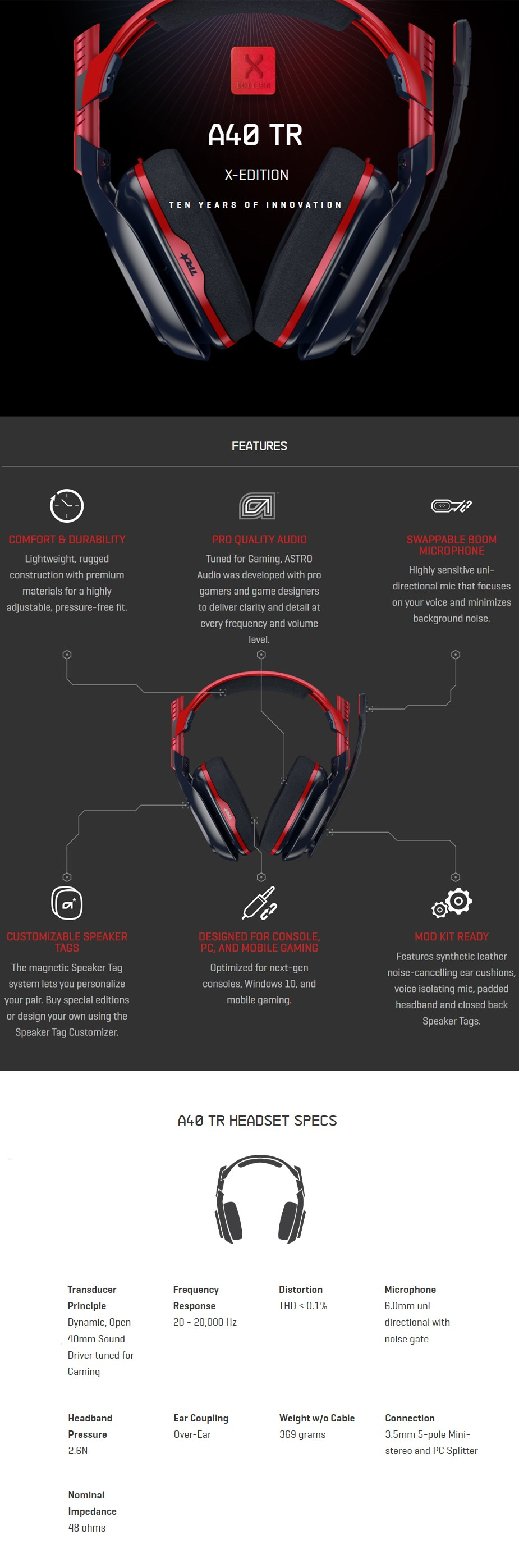 ASTRO A40 TR X-Edition Gaming Headset - Red/Black - Desktop Overview 1
