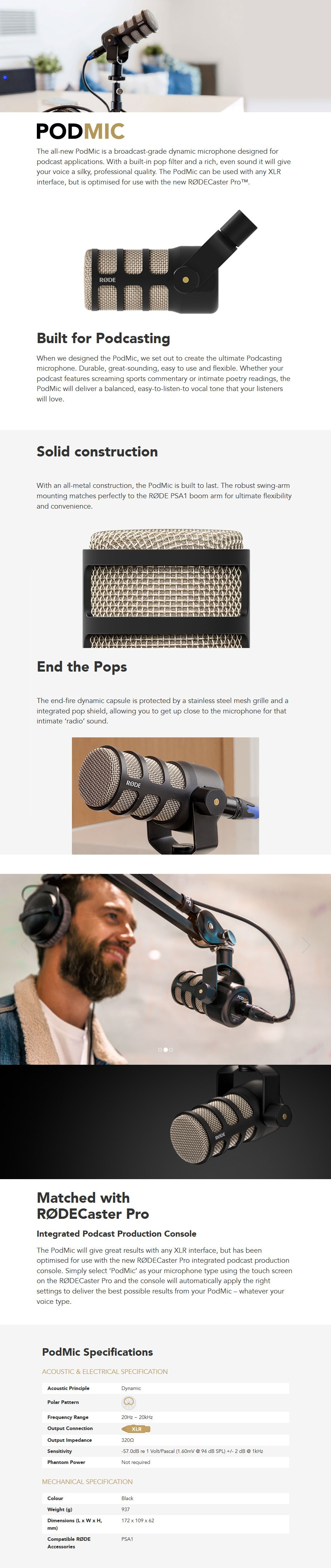 RODE PodMic Broadcast-Grade Dynamic Microphone - Desktop Overview 1