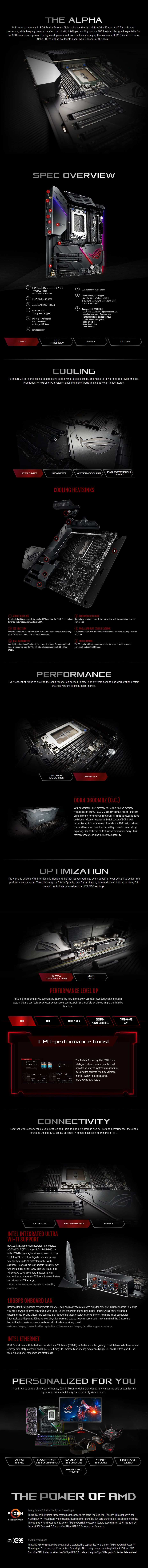 ASUS ROG Zenith Extreme Alpha X399 TR4 E-ATX Motherboard - Desktop Overview 1