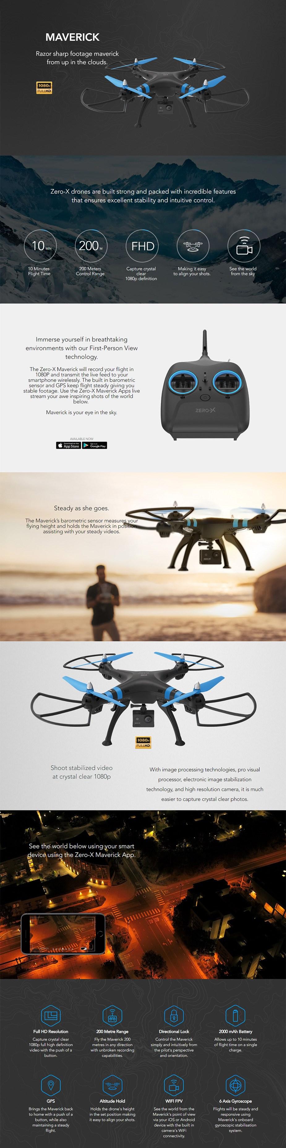 Zero-X Maverick 1080p FPV Drone - Desktop Overview 1