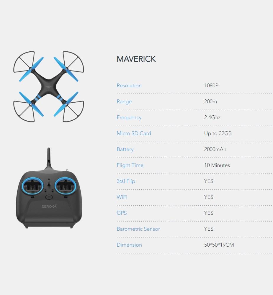 Zero-X Maverick 1080p FPV Drone - Desktop Overview 2