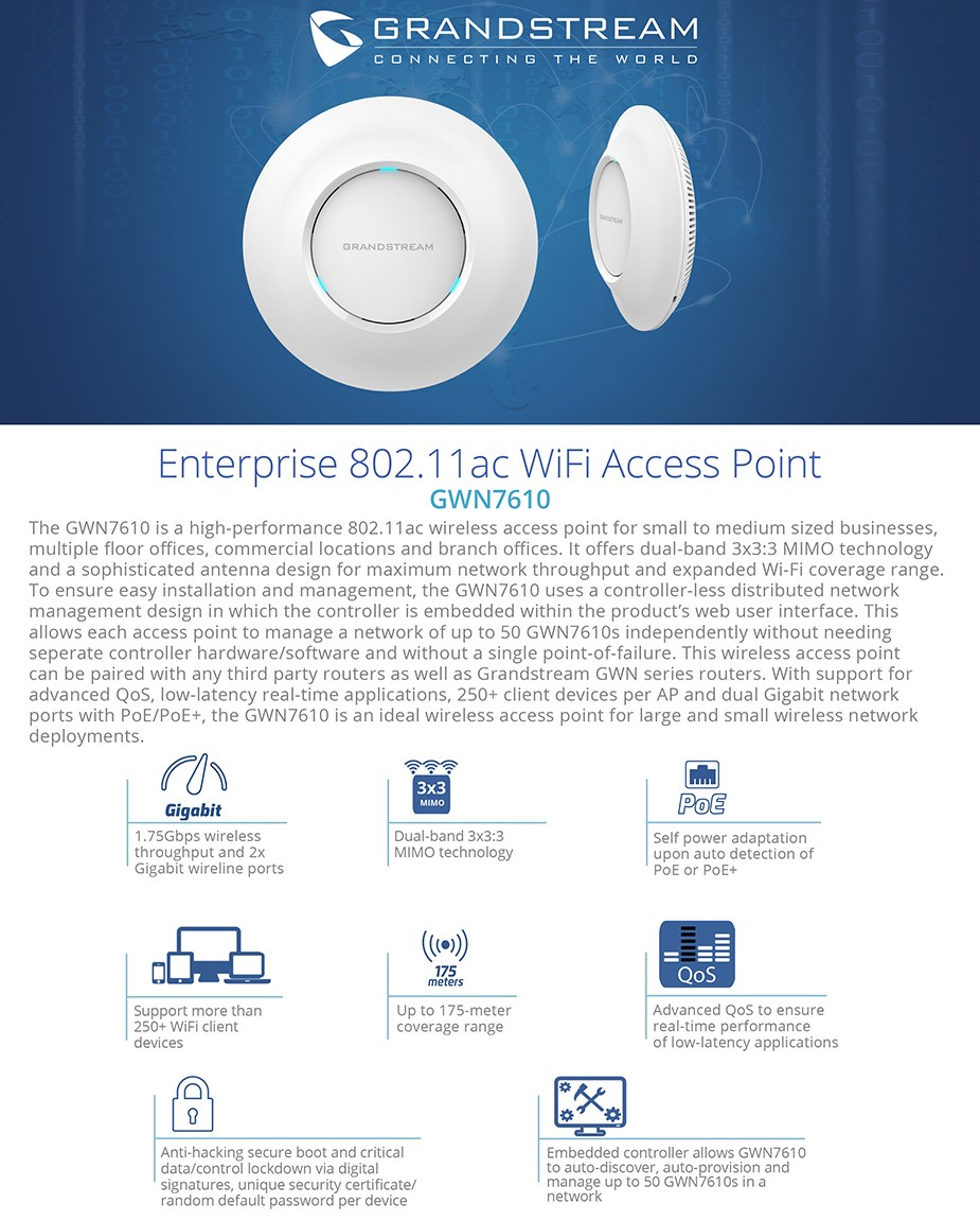Grandstream GWN7610 Dual-Band 802.11ac WiFi Access Point - Desktop Overview 1