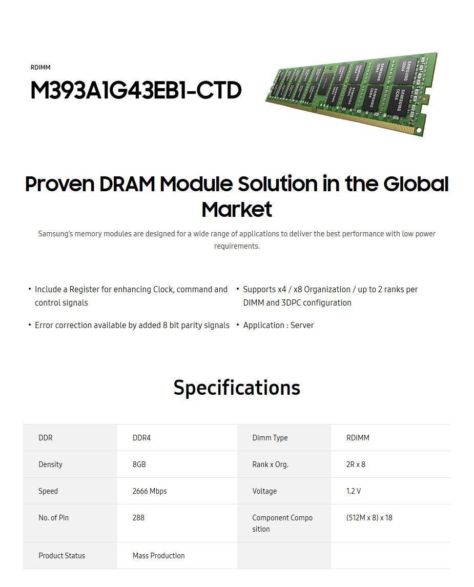 Samsung 8GB DDR4 2666MHz Dual Rank ECC RDIMM Memory - Desktop Overview 1