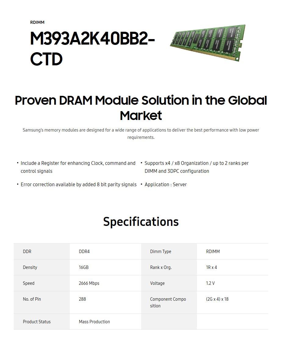 Samsung 16GB DDR4 2666MHz Single Rank ECC RDIMM Server Memory - Desktop Overview 1