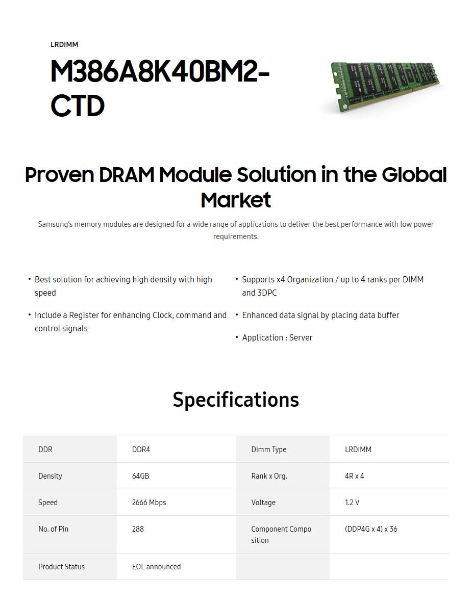 Samsung 64GB DDR4 2666MHz Quad Rank ECC LRDIMM Server Memory - Desktop Overview 1
