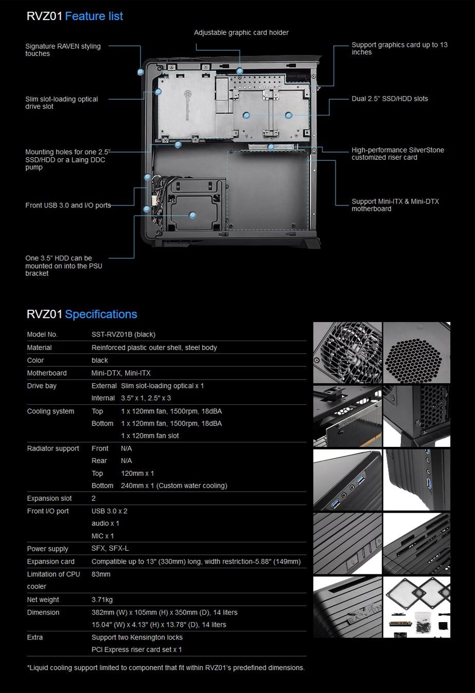 SilverStone Raven RVZ01 Mini ITX Case - Black - Desktop Overview 1