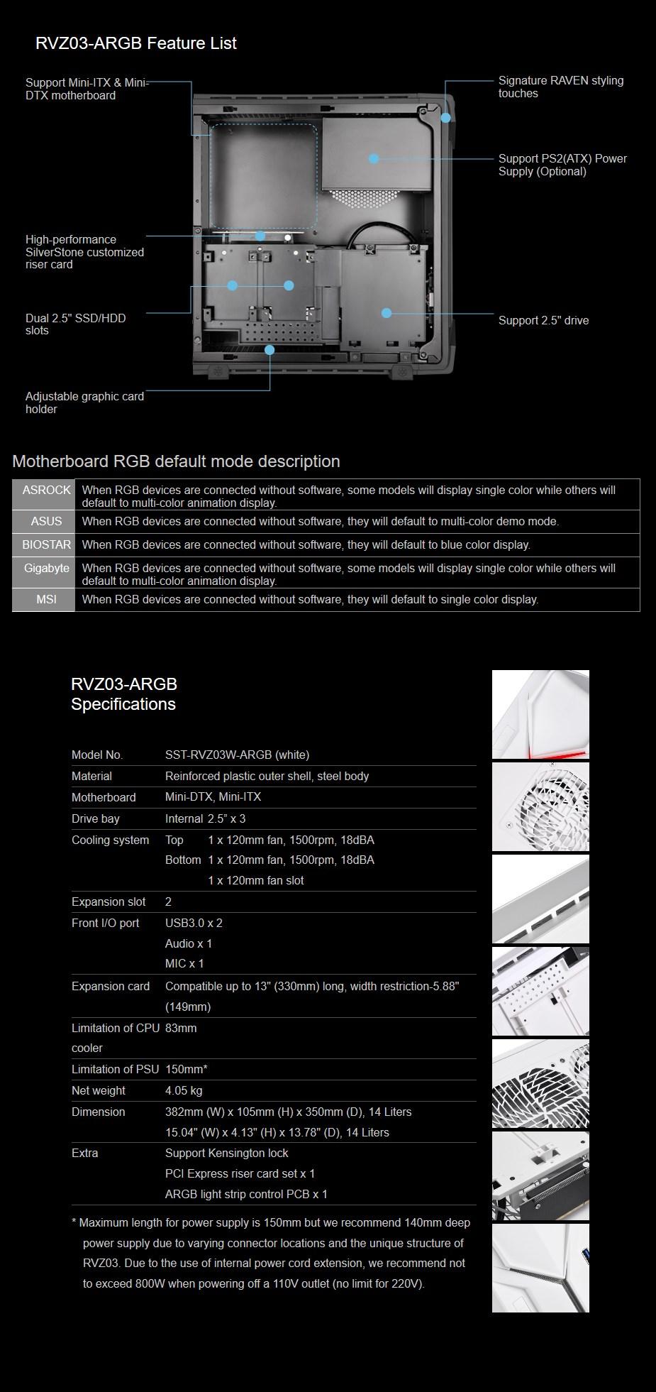 SilverStone Raven RVZ03 ARGB Mini ITX Case - White - Desktop Overview 1