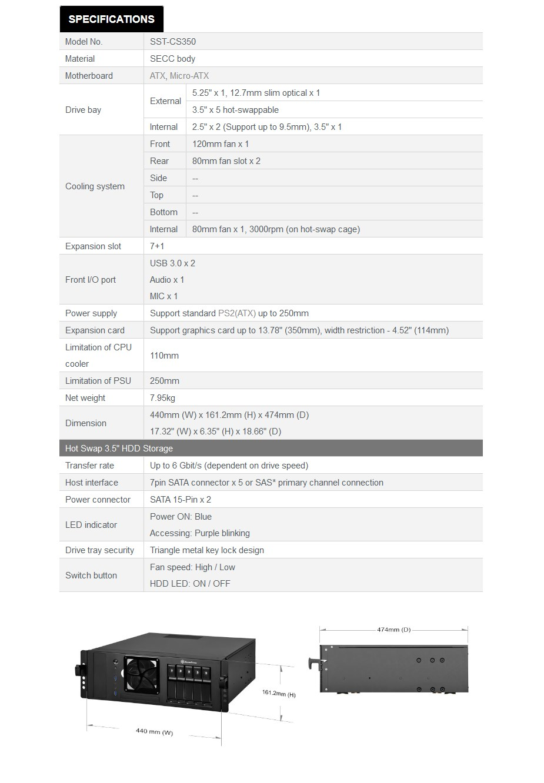 SilverStone CS350B 4U Rackmount Case - Black - Desktop Overview 1