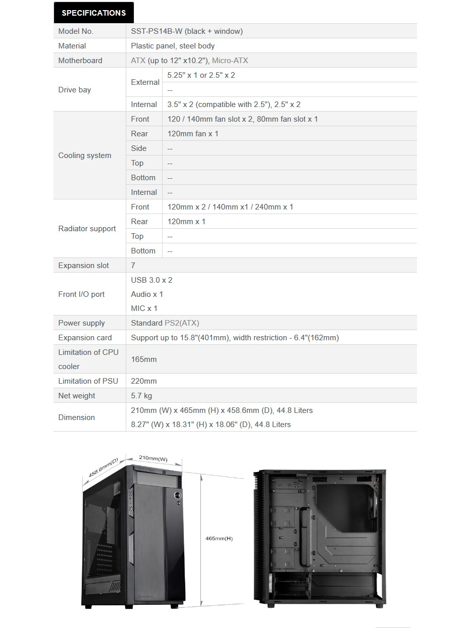 SilverStone Precision PS14B-W Windowed Mid-Tower ATX Case - Black - Desktop Overview 1