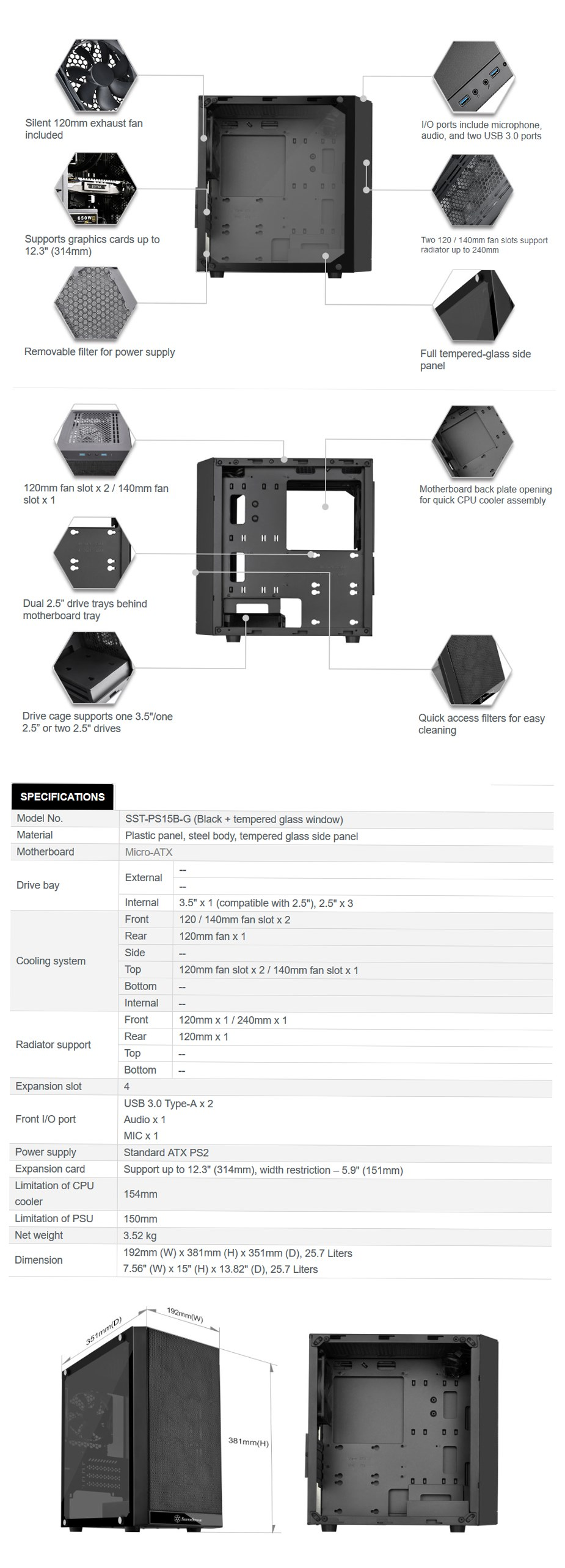 SilverStone Precision PS15 Tempered Glass Micro-ATX Case - Black - Desktop Overview 1
