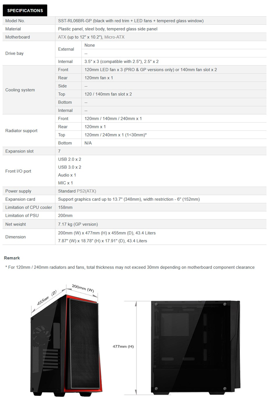 SilverStone Redline RL06 Pro Tempered Glass Mid-Tower ATX Case - Black/Red - Desktop Overview 1
