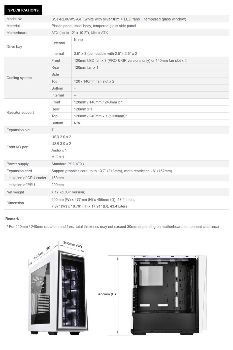 SilverStone Redline RL06 Pro Tempered Glass Mid-Tower ATX Case - White/Silver - Desktop Overview 1