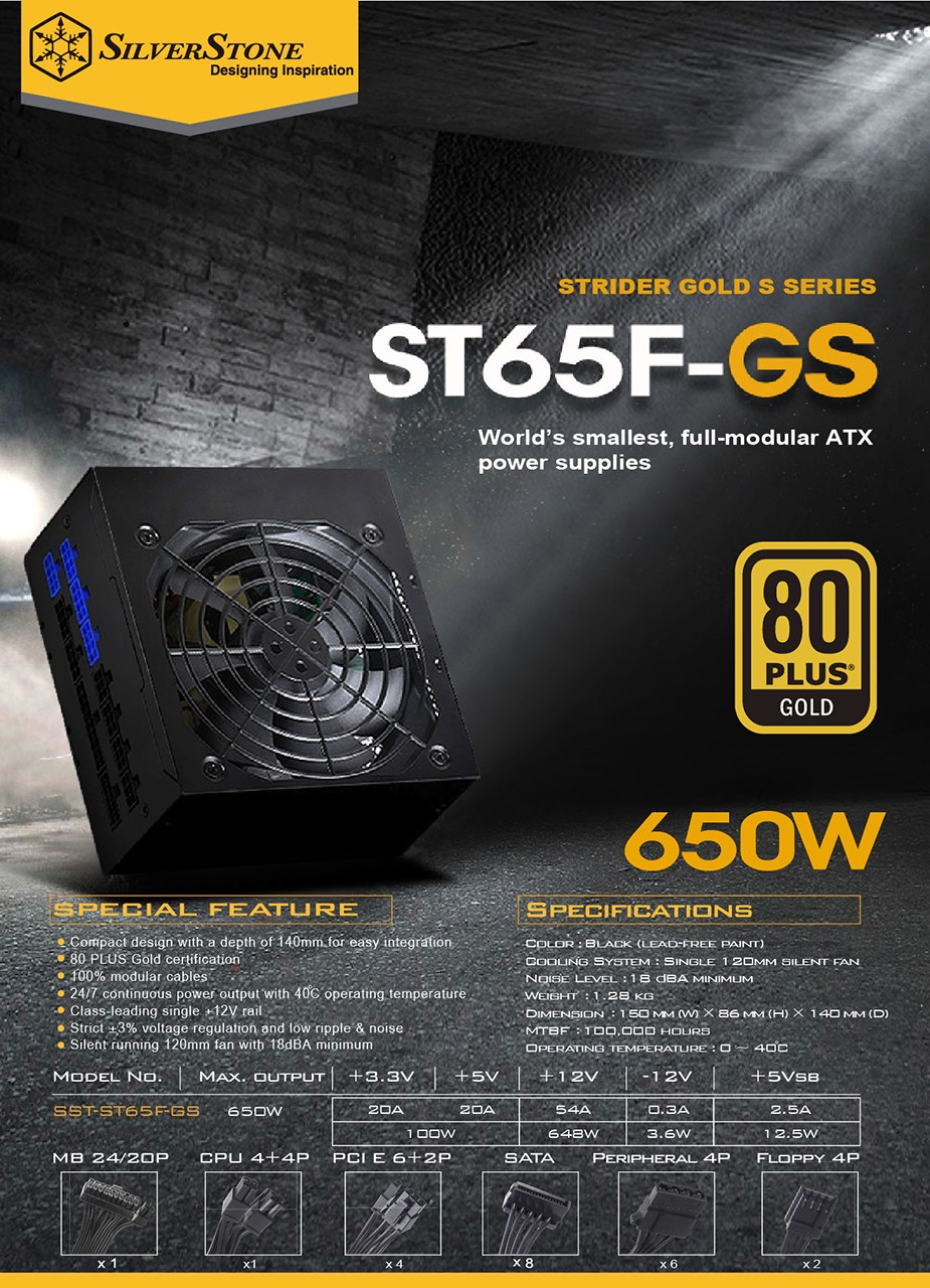 SilverStone Strider Gold S ST65F-GS 650W 80+ Gold Fully Modular Power Supply - Desktop Overview 2