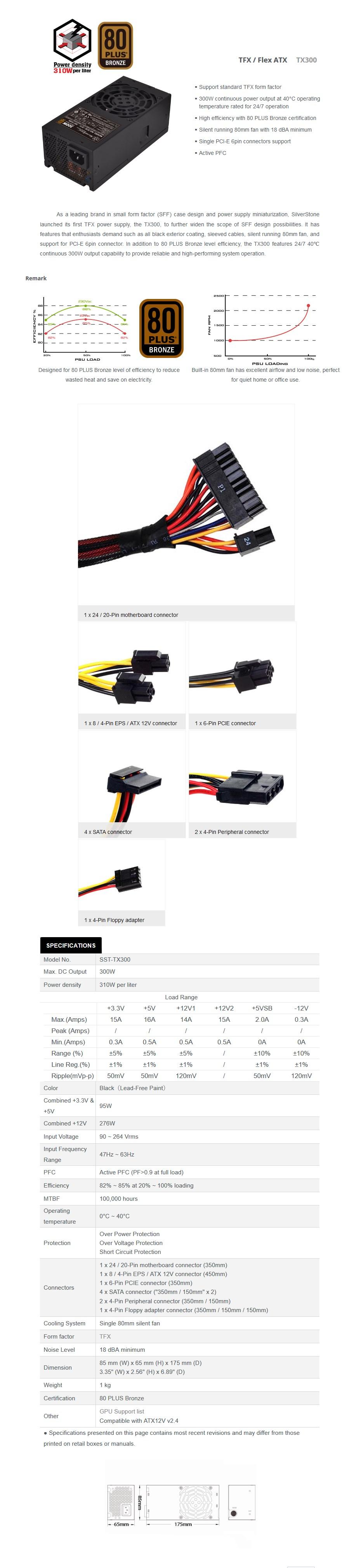 SilverStone TFX SST-TX300 300W 80+ Bronze Power Supply - Desktop Overview 1