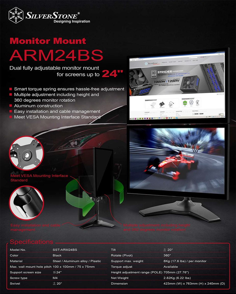 SilverStone ARM24BS Vertical Dual Monitor Desk Stand - Desktop Overview 2
