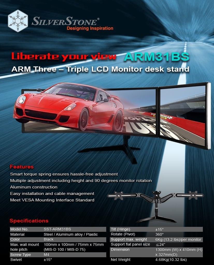 SilverStone ARM31BS Triple Monitor Mount Desk Stand Mount - Desktop Overview 2