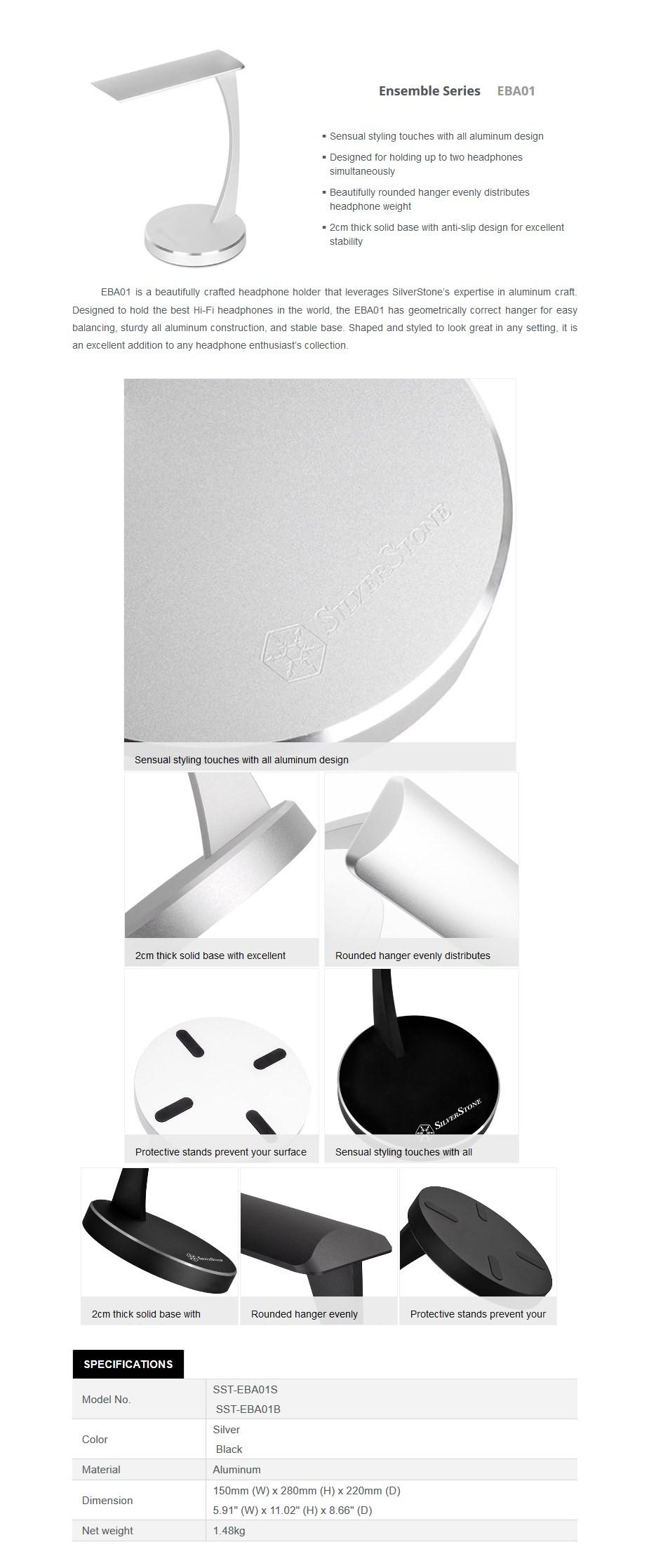SilverStone EBA01 Aluminum Headphone Stand - Silver - Desktop Overview 1