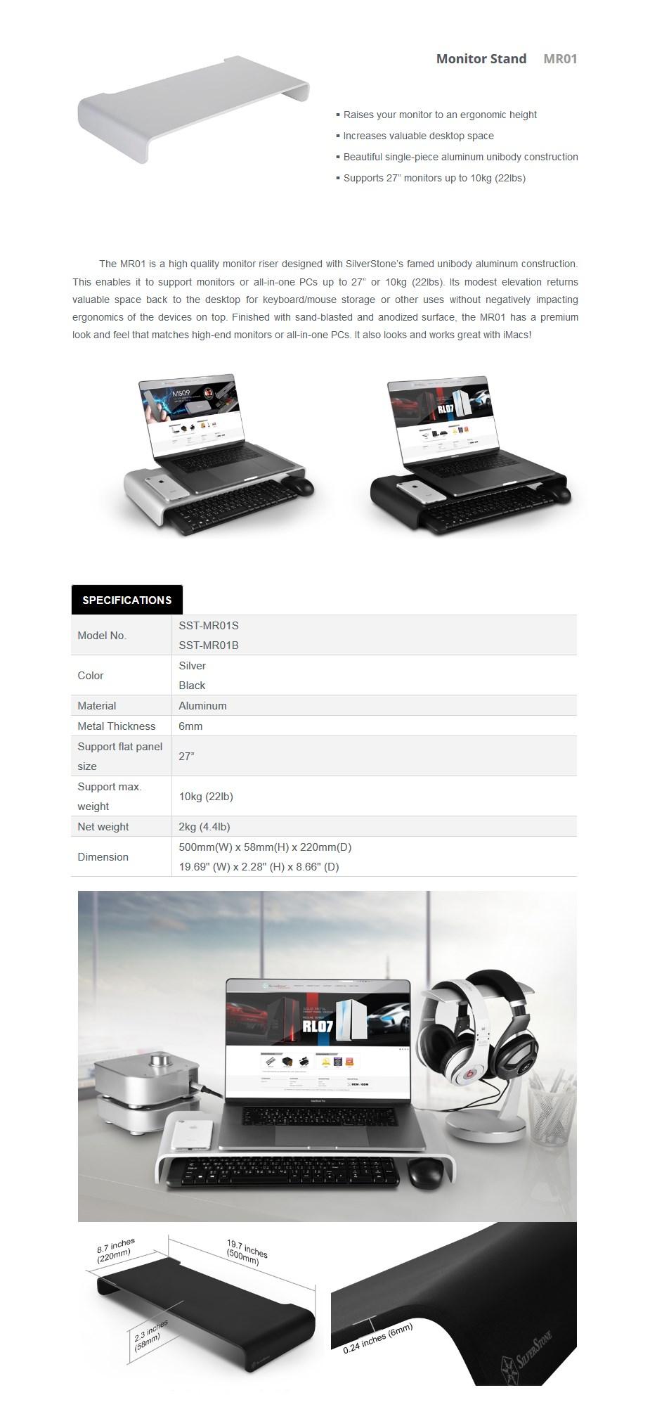 SilverStone MR01B Aluminum Monitor Riser - Black - Desktop Overview 1