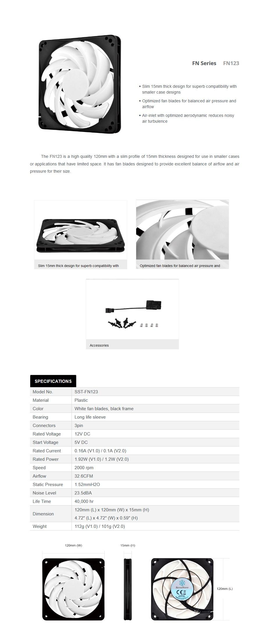 SilverStone FN123 120mm Slim Case Fan - White - Desktop Overview 1