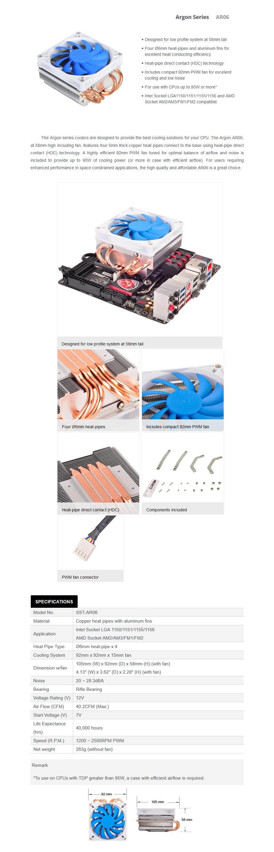 SilverStone Argon AR06 Low Profile CPU Air Cooler - Desktop Overview 1