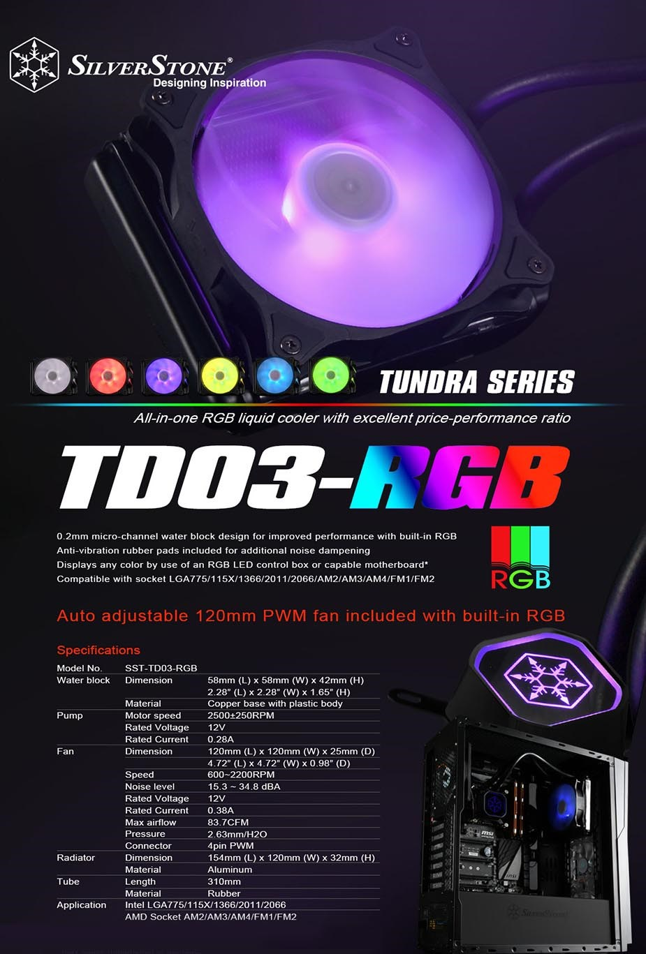 SilverStone Tundra TD03 RGB AIO 120mm CPU Cooler - Desktop Overview 1