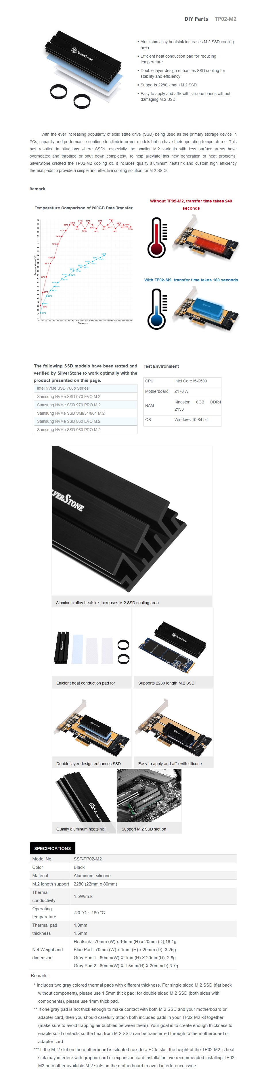 SilverStone TP02-M2 M.2 SSD Cooling Kit - Desktop Overview 1