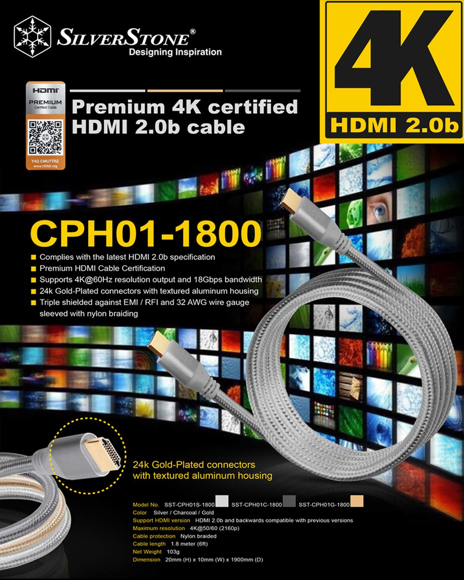 SilverStone CPH01C Premium Braided 1.8m 4K HDMI Cable - Silver - Desktop Overview 1