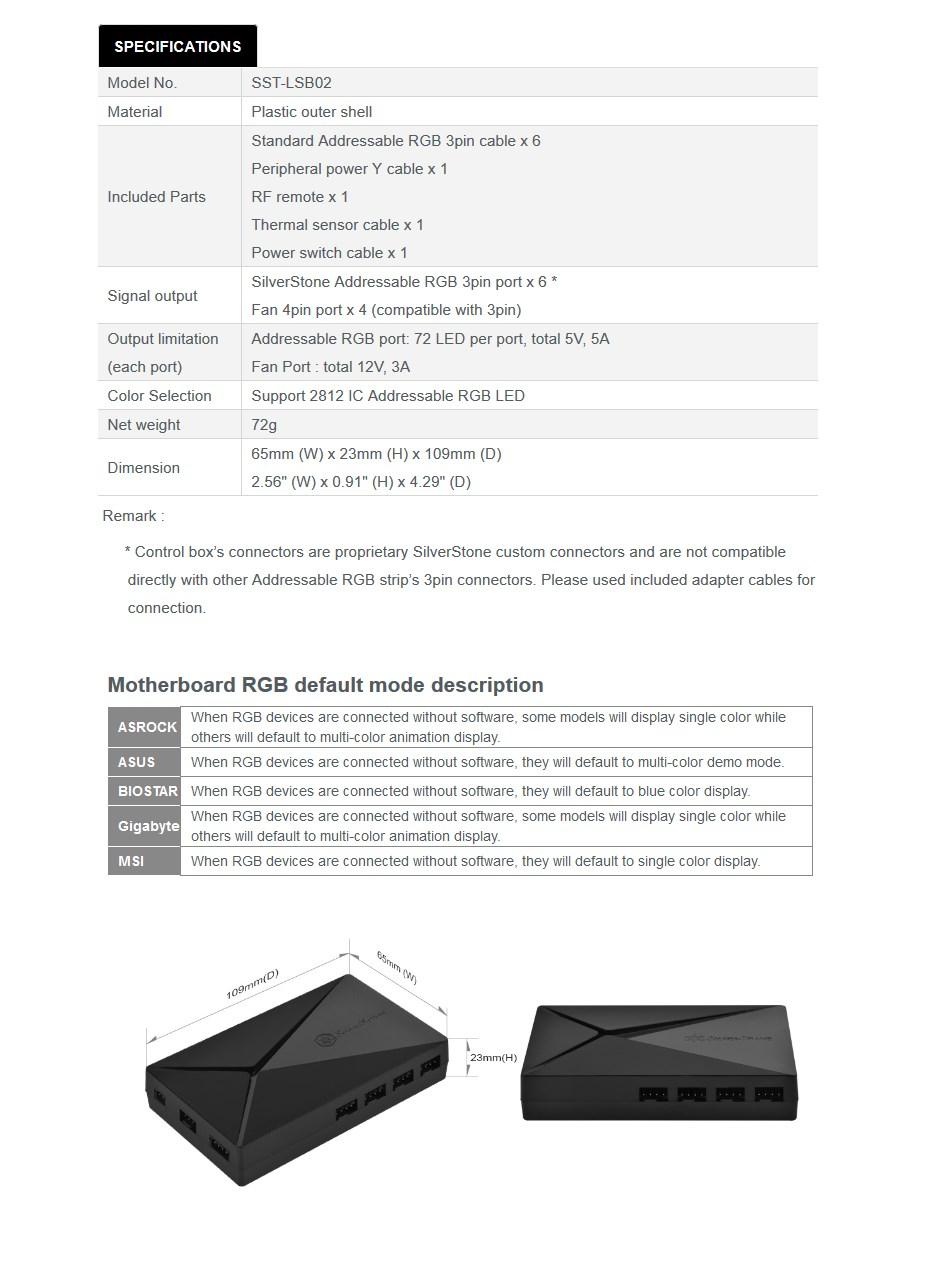 SilverStone LSB02 Addressable RGB Light Strip Control Box - Desktop Overview 2