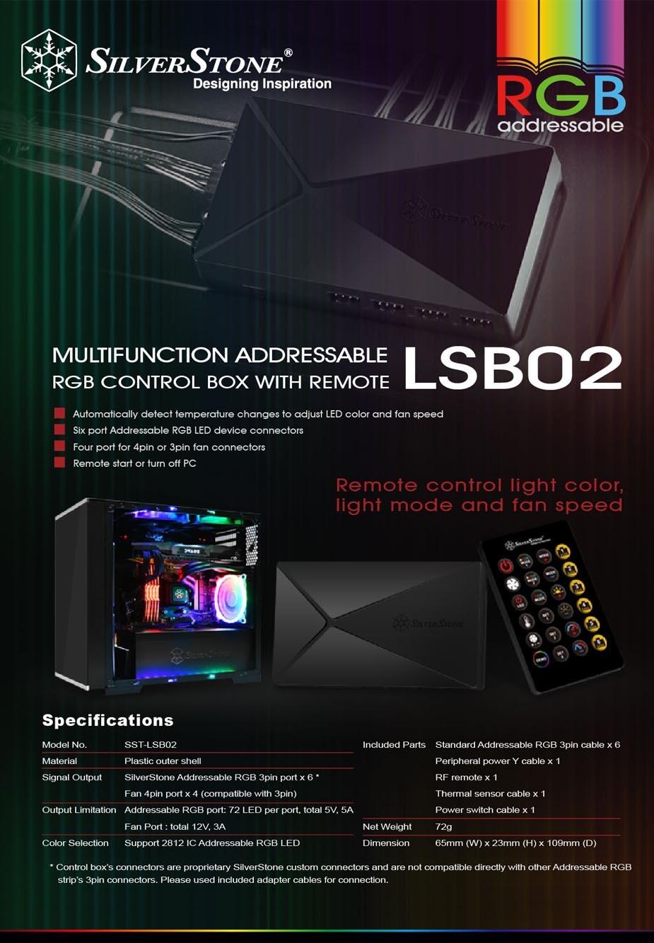 SilverStone LSB02 Addressable RGB Light Strip Control Box - Desktop Overview 1