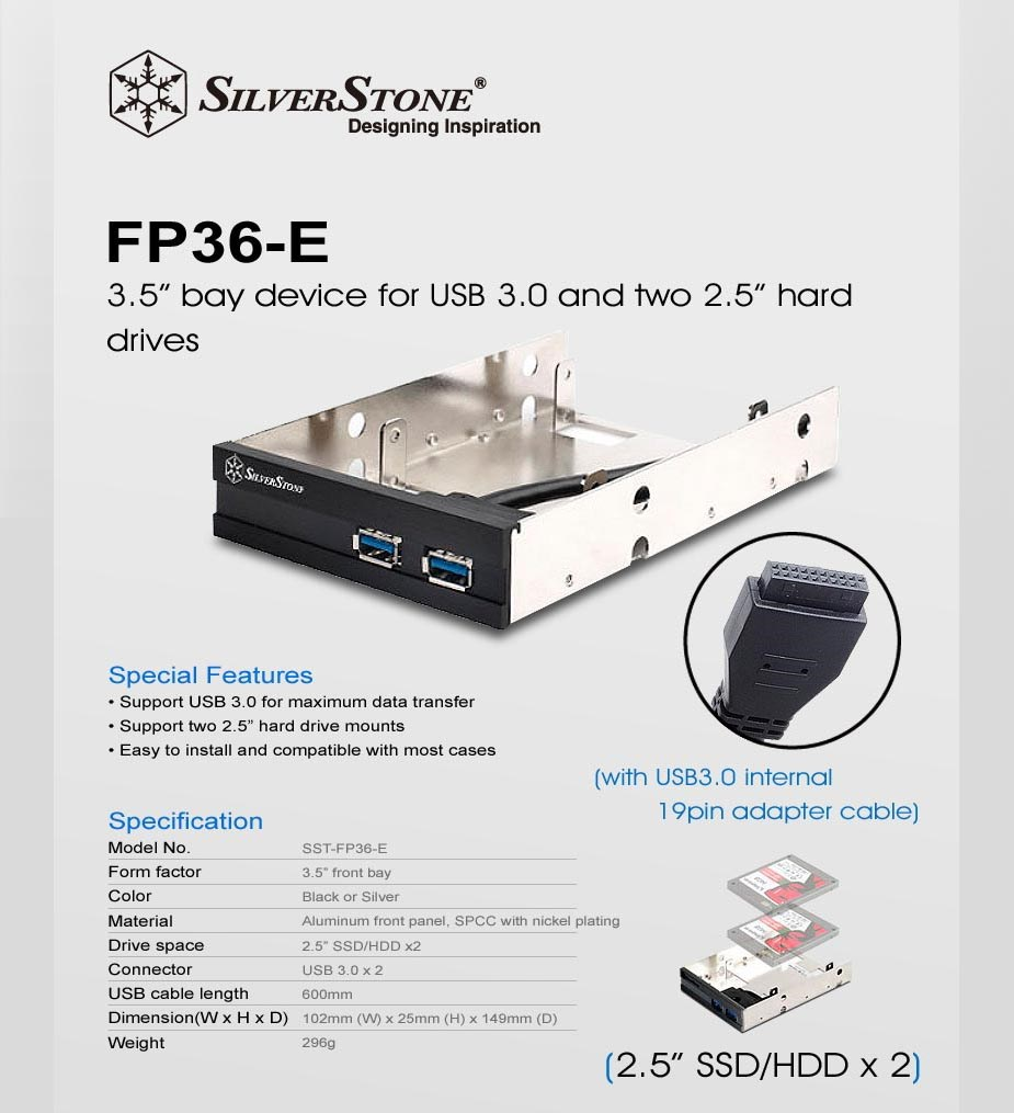 "SilverStone FP36 USB3.0 3.5"" to 2 x 2.5"" Drive Bay Converter - Black - Desktop Overview 1"