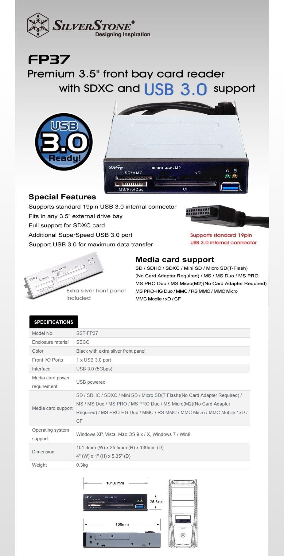 """SilverStone FP37 3.5"""" Front Bay Multi-Card Reader - Black - Desktop Overview 1"""