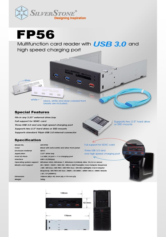 "SilverStone FP56 5.25"" Multi-Card Reader - Black - Desktop Overview 1"