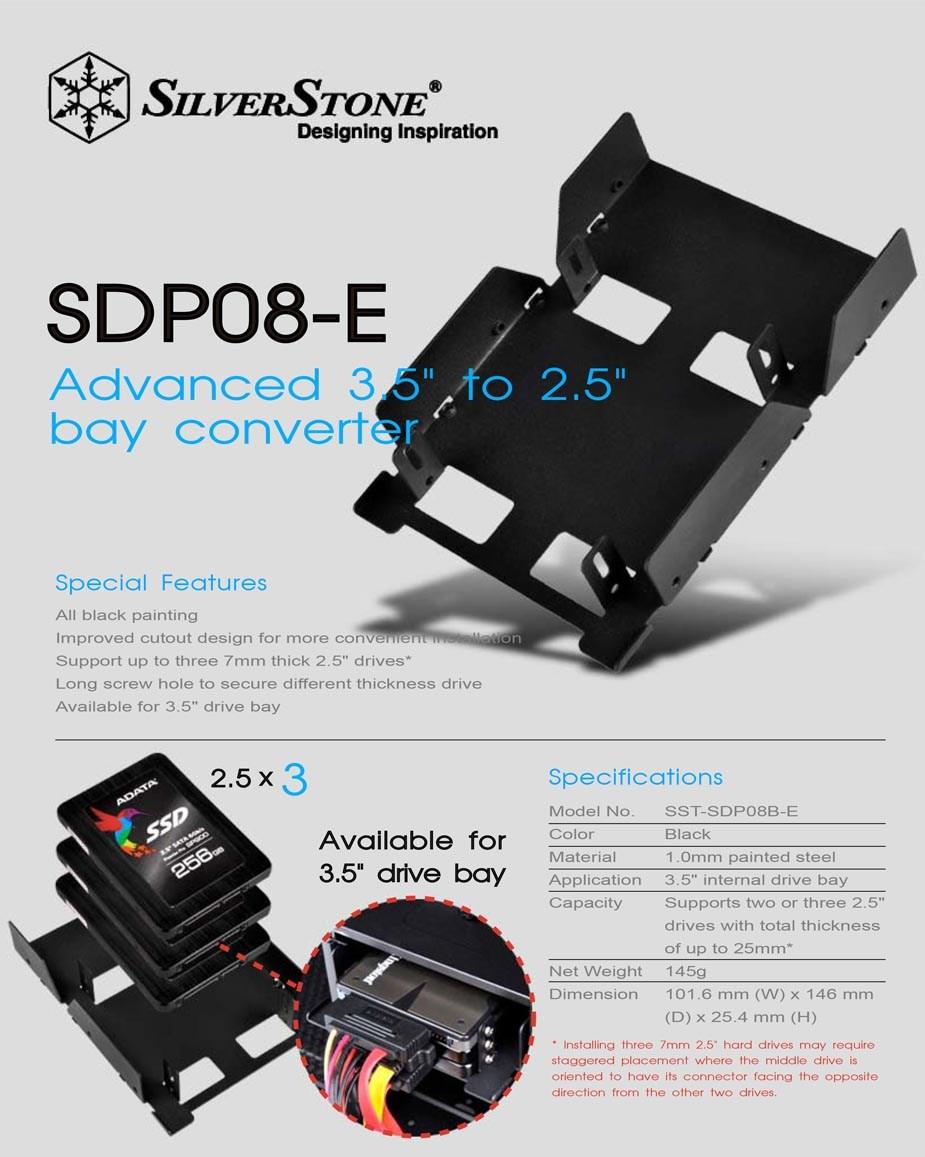 "SilverStone SDP08B-E 3.5"" to 3 x 2.5"" Drive Bay Converter - Black - Desktop Overview 1"