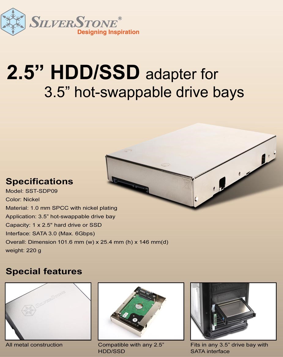 "SilverStone SDP09 2.5"" HDD/SSD to 3.5"" Hot Swap Adapter - Desktop Overview 1"