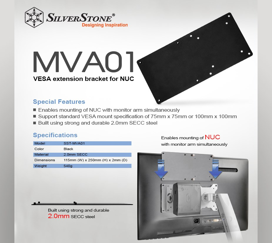 SilverStone MVA01 Extension Bracket for Mounting of NUC with Monitor - Desktop Overview 1