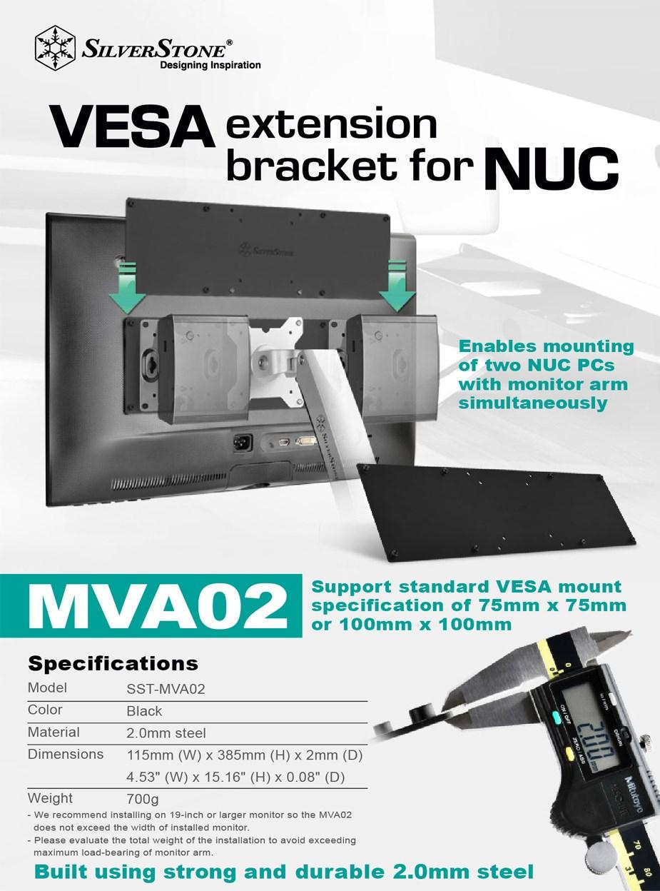 Silverstone MVA02 Dual NUC VESA Mount - Black - Desktop Overview 1